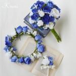 【オーダー】ダークブルーローズの花冠・ブーケ・ブートニア