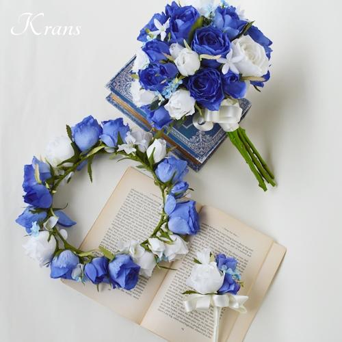 青いブーケ花冠ブルーローズ