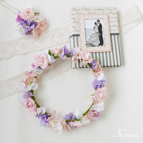 プリンセスピンクローズのウェディング花冠