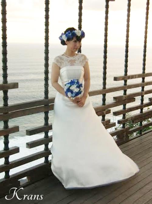 花冠ブルーローズ結婚式ブーケ4