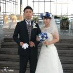 花冠ブルーローズ結婚式ブーケ