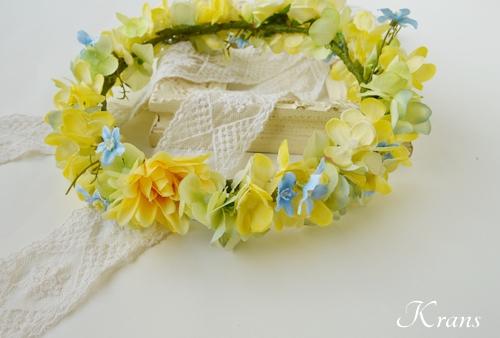 黄色い花冠結婚式イエローブルー2