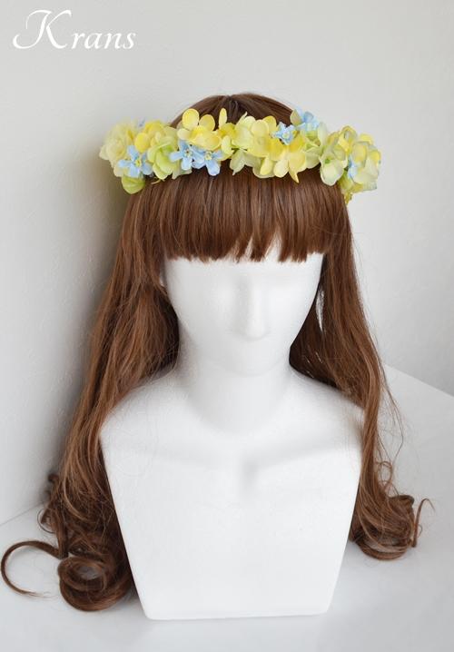 黄色い花冠結婚式イエローブルー4