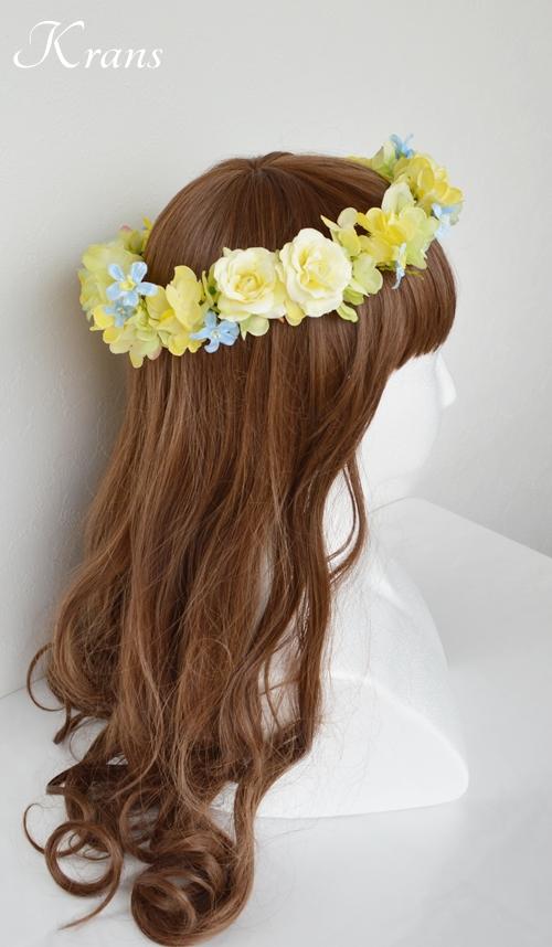 黄色い花冠結婚式イエローブルー6