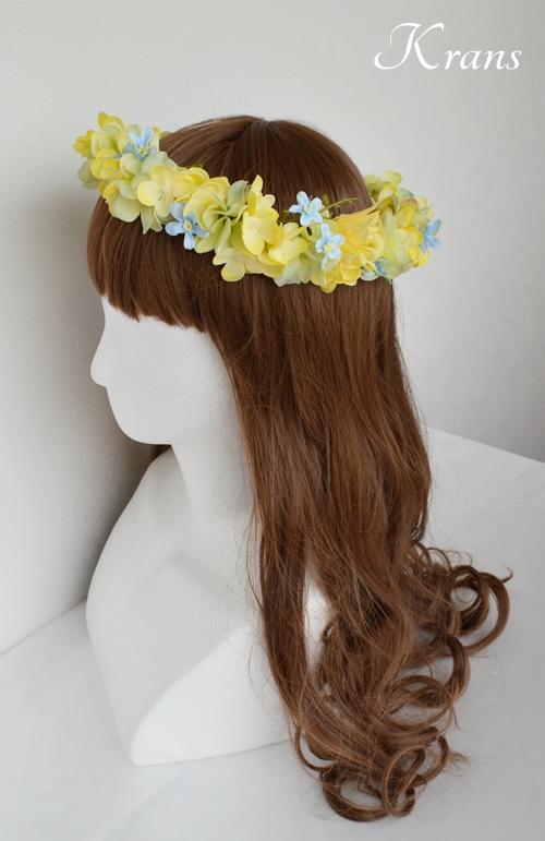 黄色い花冠結婚式イエローブルー5