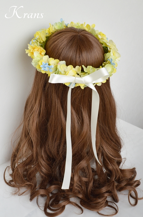 黄色い花冠結婚式イエローブルー8