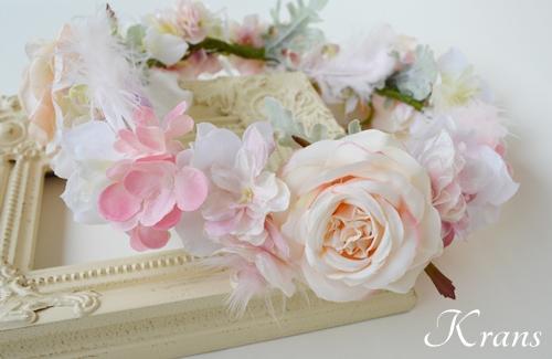 羽の花冠ピンク結婚式4