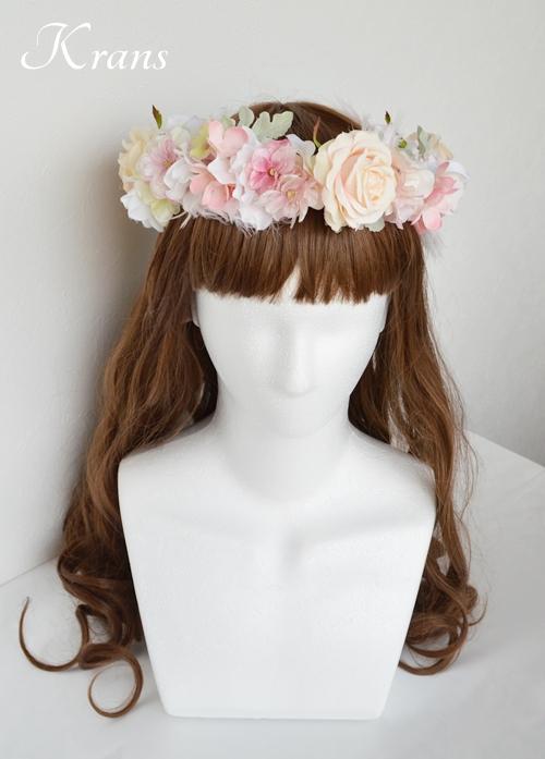 羽の花冠ピンク結婚式6