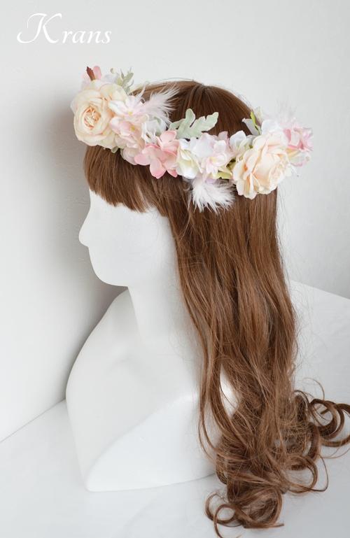 羽の花冠ピンク結婚式7