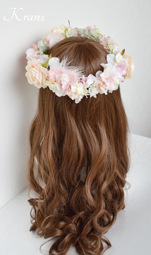羽の花冠ピンク結婚式8