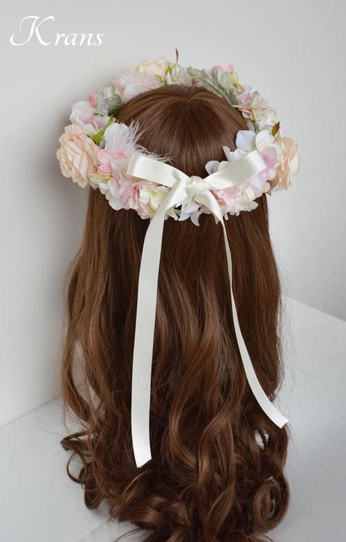 羽の花冠ピンク結婚式9