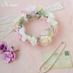 羽の花冠ピンク結婚式