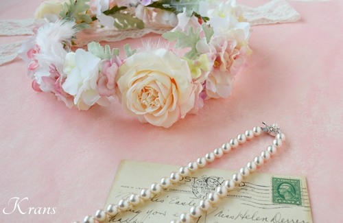 羽の花冠ピンク結婚式2