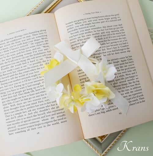 花冠結婚式白と黄色いあじさい3