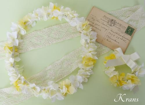 花冠結婚式白と黄色いあじさい4