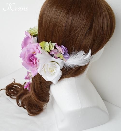 羽ヘッドドレスパープル結婚式6