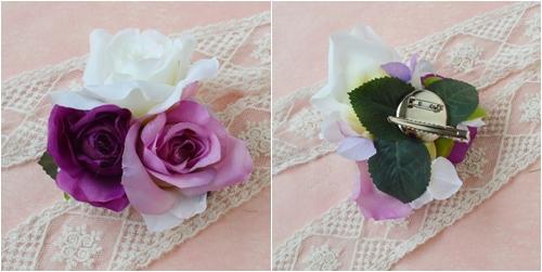 羽ヘッドドレスパープル結婚式3