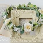 ナチュラルグリーンホワイト花冠ウェディング