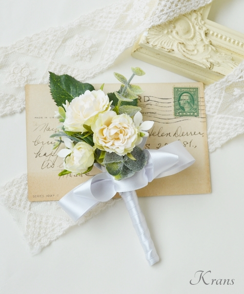結婚式花冠大人可愛いナチュラルブートニア