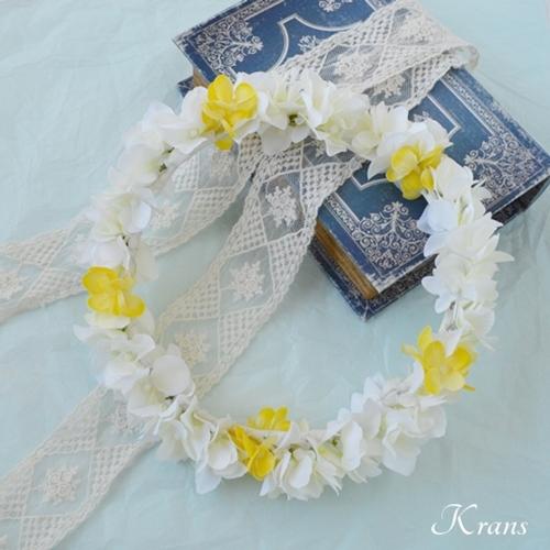 【オーダー】白と黄色の可憐なアジサイ花冠