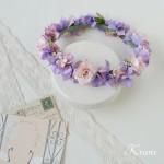 花冠結婚式パープルピンク