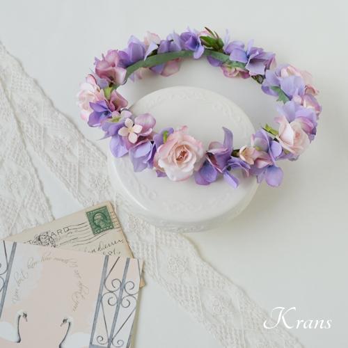 ラベンダーパープルとブライダルピンクの花冠