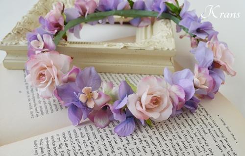 花冠結婚式パープルピンク2
