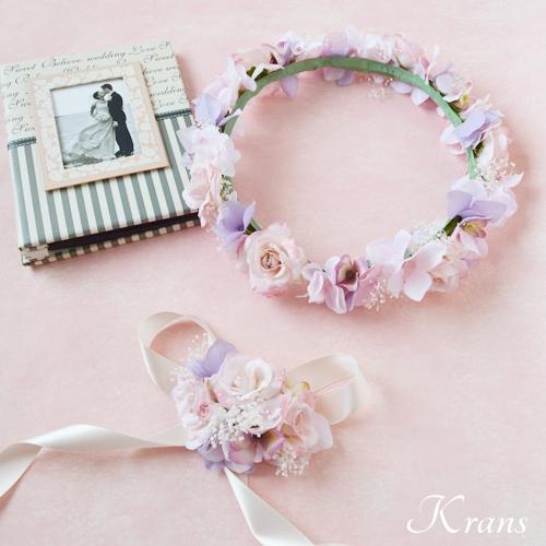 ピンクメリンダ花冠結婚式