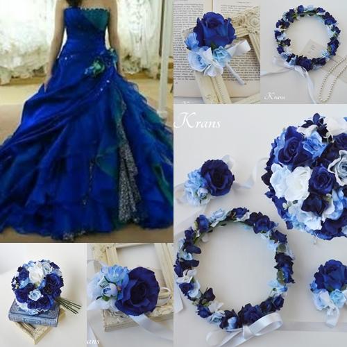 花冠に似合うドレスコーディネートブルー