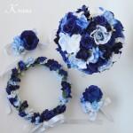 青い花冠青いブーケブルー結婚式