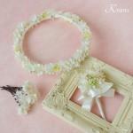 【オーダー】かすみ草とスノーフラワーのウェディングホワイト花冠