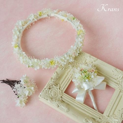 結婚式かすみ草の花冠、プリザーブドフラワーカスミソウ