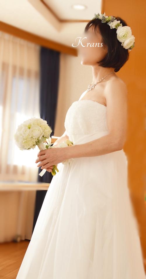 ウエディング花冠みどり白