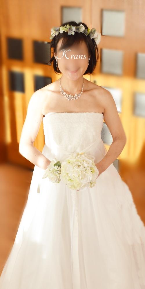 結婚式花冠グリーンホワイト