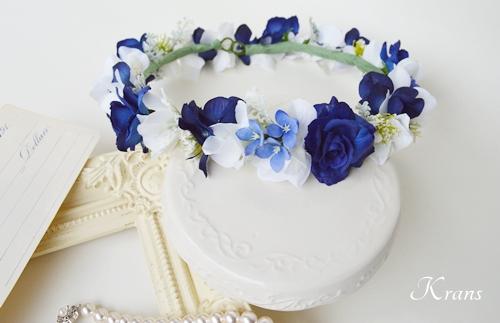 ブルー花冠青い結婚式花かんむり2