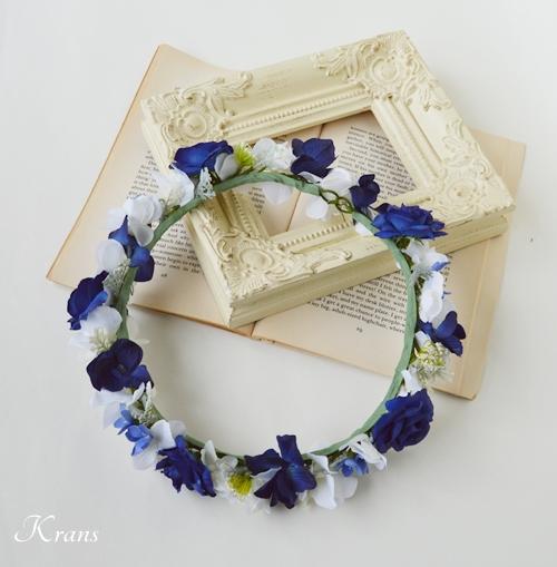 青いリボンウェディングドレスの花冠