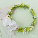 結婚式花冠おしゃれナチュラルグリーン