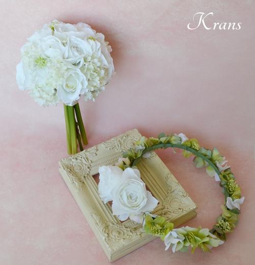 ナチュラル花冠ホワイトブーケ結婚式