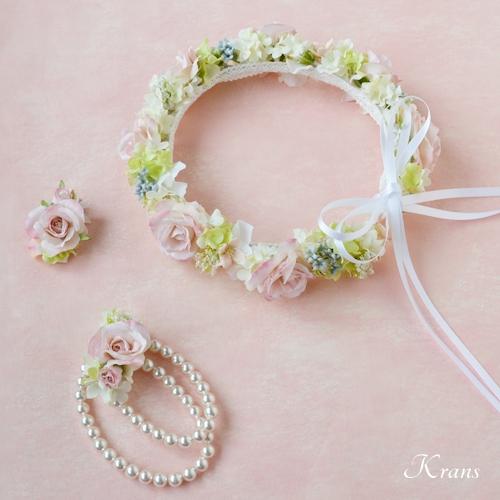 ウェディング花冠かわいいピンク