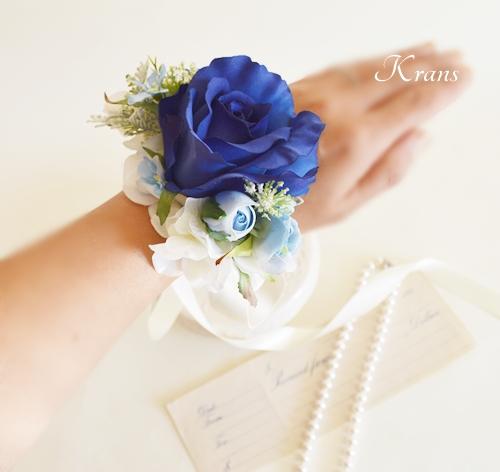 青いバラ結婚式リストレットリストブーケ