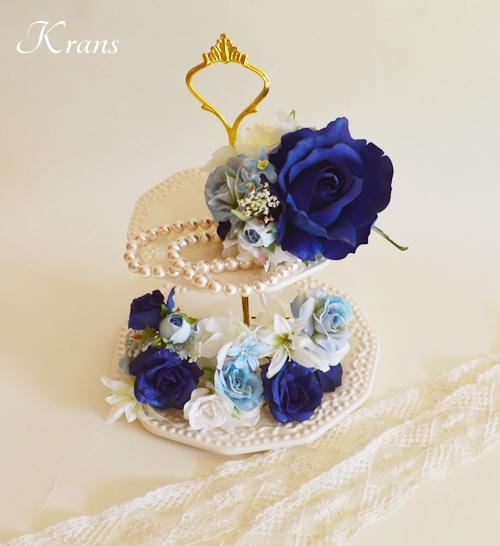 結婚式髪飾りロイヤルブルー水色バラフラワーピック2