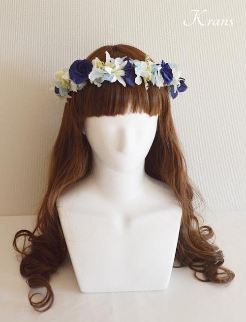 結婚式花冠ブルーエレガント水色ヘアスタイル