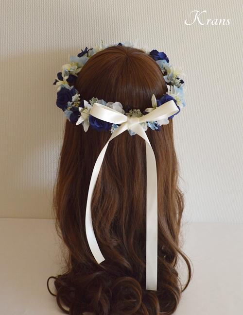 結婚式花冠ブルーエレガント水色ヘアスタイル2