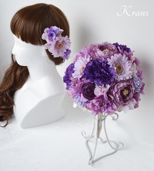 パープルラウンドブーケ、パープル髪飾りヘッドドレス3