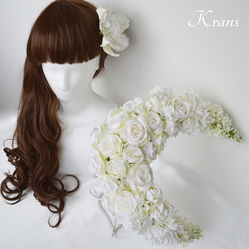【オーダーメイド】三日月のウェディングブーケと髪飾り