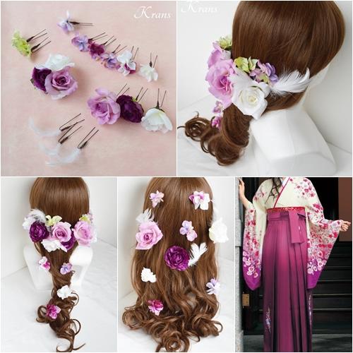 卒業式袴紫髪飾り