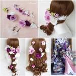 和装紫色打掛の髪飾り