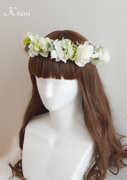ホワイトローズ花冠結婚式髪型2