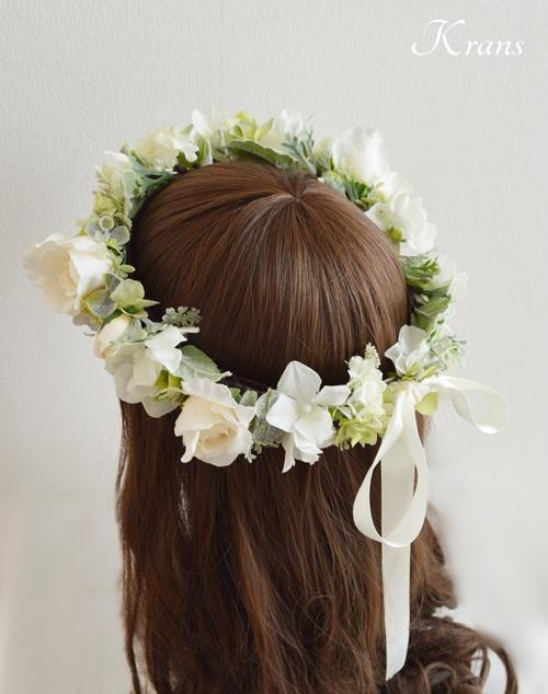 ホワイトローズ花冠結婚式髪型3