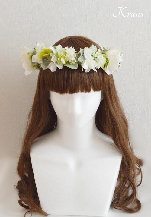 ホワイトローズ花冠結婚式髪型